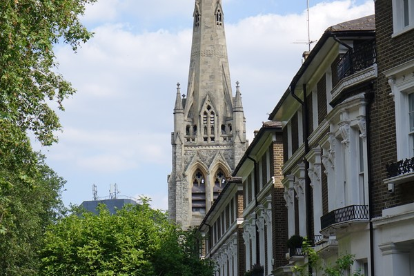 Brook Green South side and spire of Holy Trinity Church