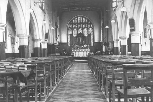 Interior of St Mary's Bow 1912