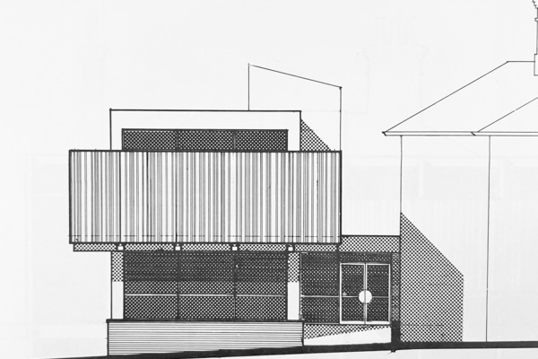 Architectural drawing by Hugh Lea, part of the original proposal