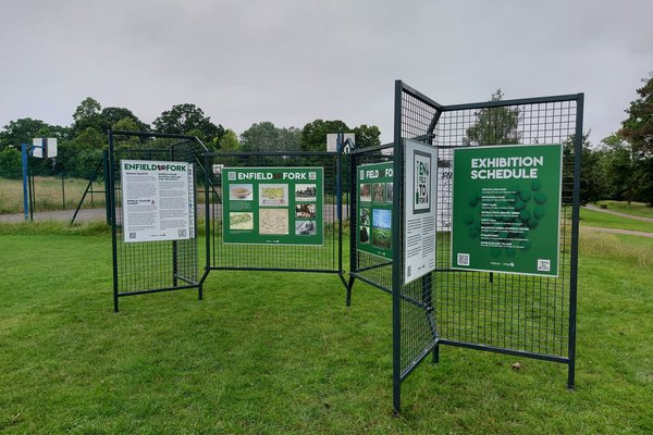 Exhibition in its first location, Grovelands Park