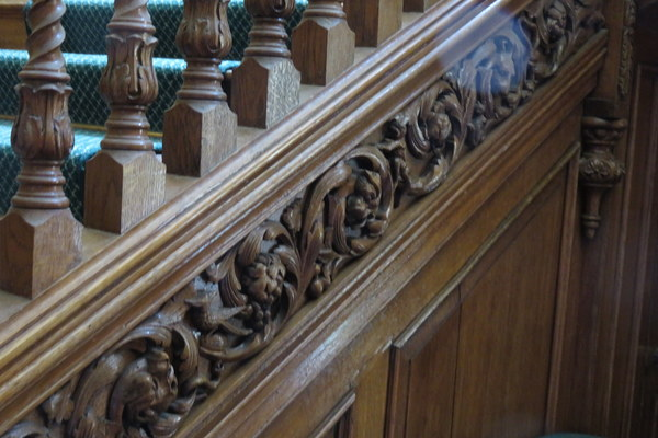carved staircase inside Bromley Palace