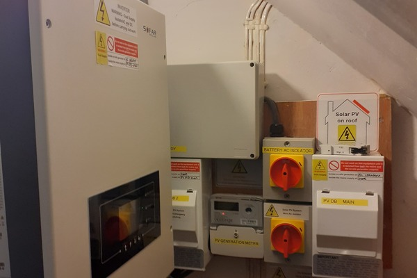 Sofar inverter and distribution box in electricity cupboard