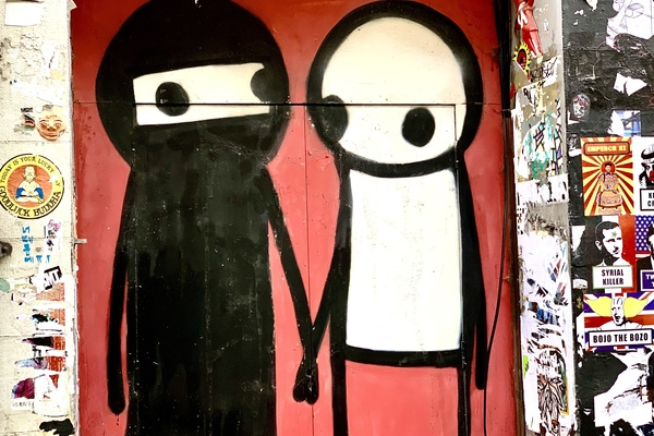 Stik's work consists of a few lines, two dots and a circle ... yet it's remarkably expressive