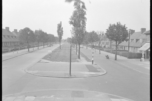 Photograph of Becontree Avenue, Dagenham, showing dual carriageway taken from up poplar tree opposite LCS Stores, 1957
