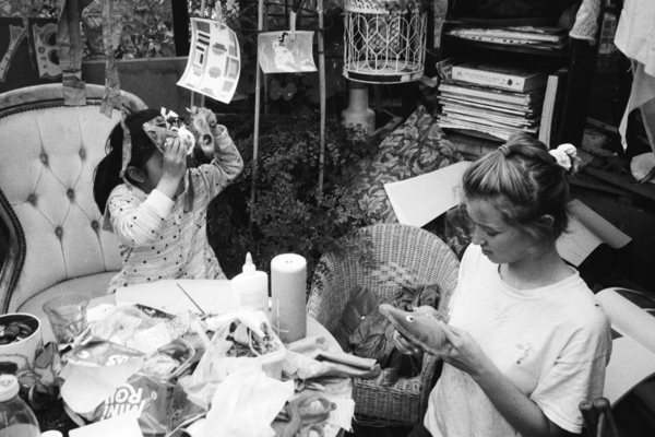 Doll making workshops in the community garden dome, while the building is out of use