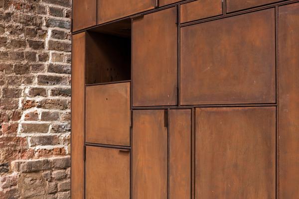 Corten Steel storage unit with hidden WC