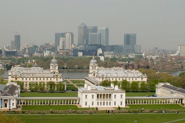 View of National Maritime Museum and Queen's House from Greenwich Park