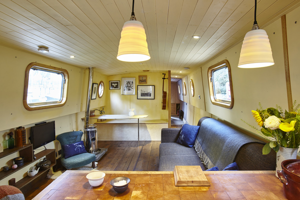 View of the saloon area of Widebeam Narrowboat Juniper Island