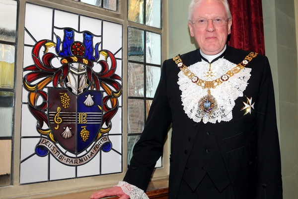 The Lord Mayor Dr Sir Andrew Parmley with his coat of arms  produced by Mel Howse