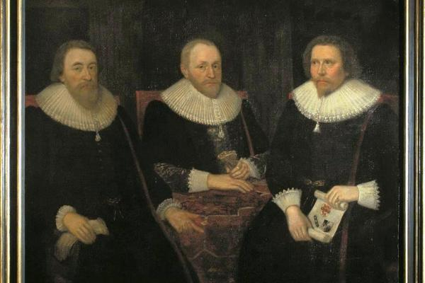 Portrait of John Potkin, Thomas Carleton and John Taylor.  Taylor is the reputed painter of the Chandos portrait of William Shakespeare in the National Portrait Gallery, the earliest and most plausibly authentic likeness of the playwright