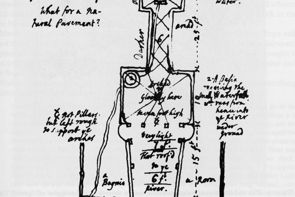 A plan of the grotto, drawn by Alexander Pope in January 1740.
