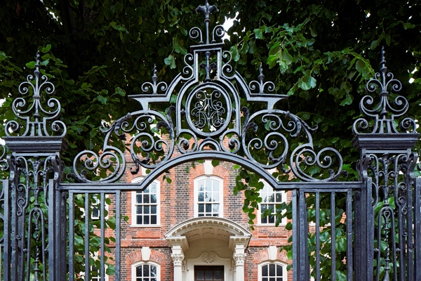 The fine C18th wrought iron railings at Rainham Hall