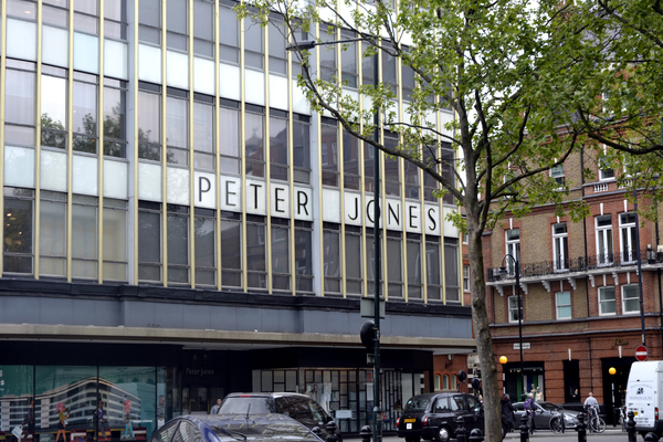 Close up of Peter Jones signage from Sloane Square