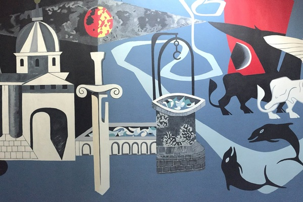 The newly restored Peter Yates mural in the foyer of Bevin Court