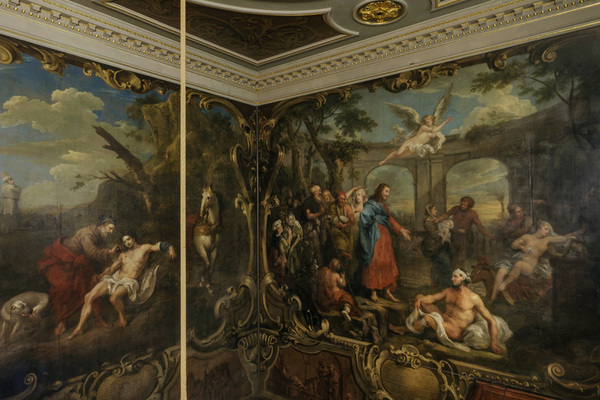 Paintings by William Hogarth on the grand staircase, North Wing