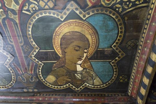 Conservation of Daniel Bell's ceiling saints
