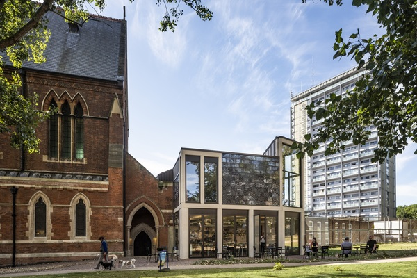 View of new heritage wing adjoining St Mary Magdalene Church and Primary School