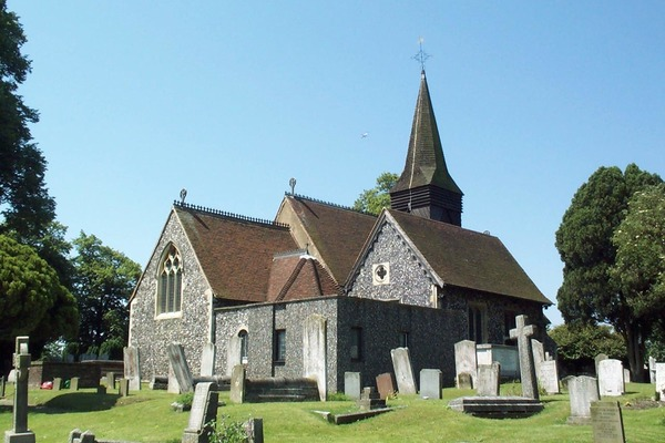 view of church from churchyard