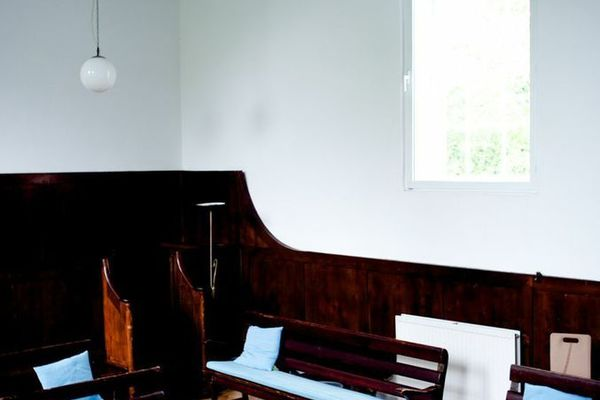 Meeting House inside with table and window