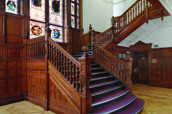 Spring Grove House staircase and stained glass windows