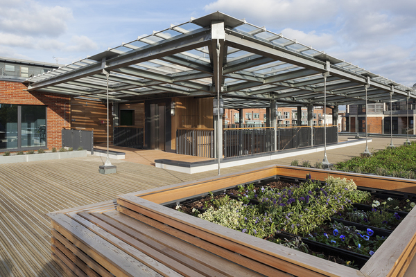 Communal roof terrace and garden space
