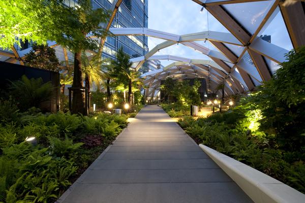 Internal view of the garden illuminated at night