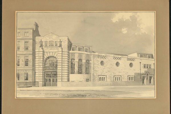 Watercolour of Conway Hall by the architect