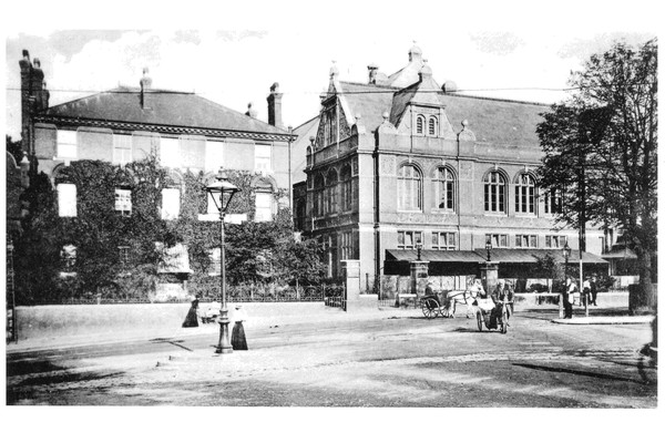 Historical picture of the Music Building next to the Blackheath Halls