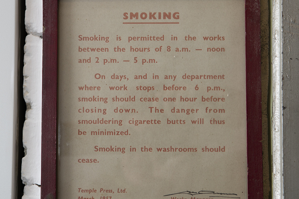 Smoking notice from the former Temple Press in LMA strongroom