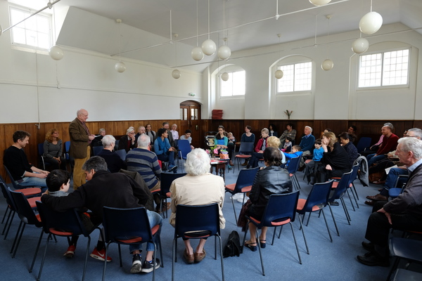 The meeting room with a Quaker meeting in progress