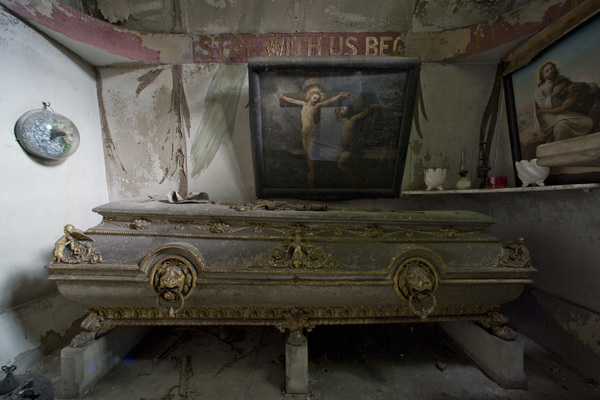 Sir Richard Burton's coffin before restoration
