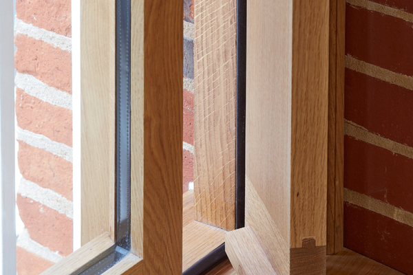 Bespoke oak windows and openable vents, First Floor