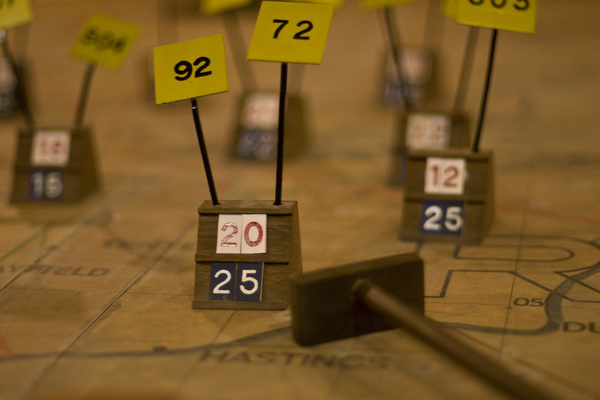 Close-up of aircraft plots on the Bunker's original wartime map table.