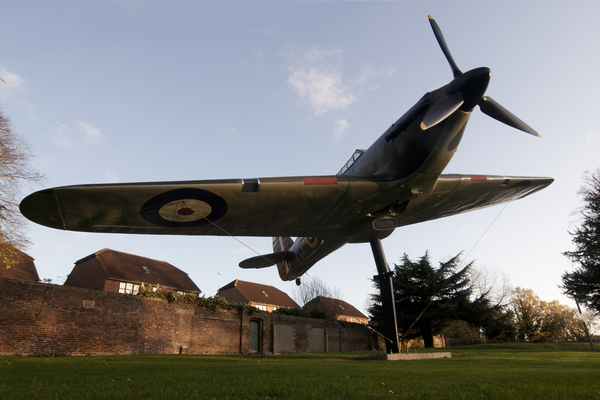 Replica Hurricane aircraft outside the Bunker.