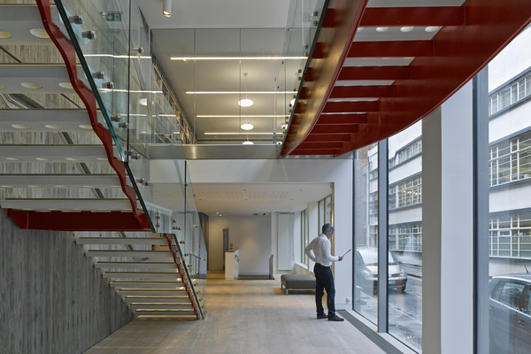 Institution of Structural Engineers, Bastwick Street internal view: stair and bridge