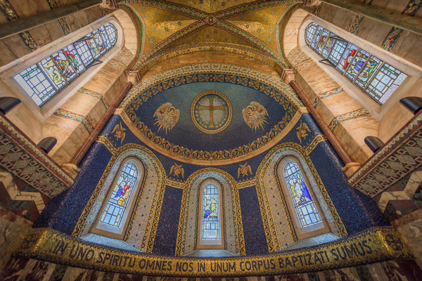 The ornate baptisery of the Fitzrovia Chapel