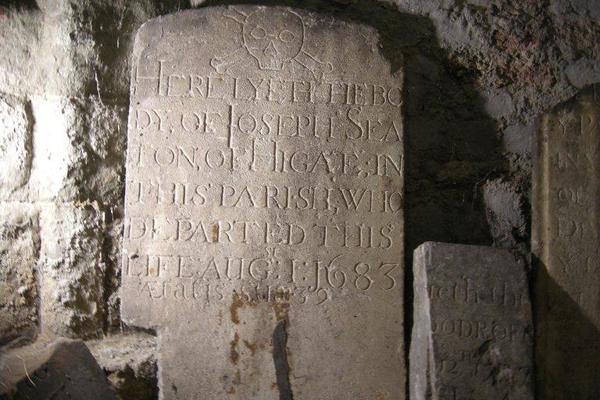 Ancient Tomb Stones Stored in the Crypt