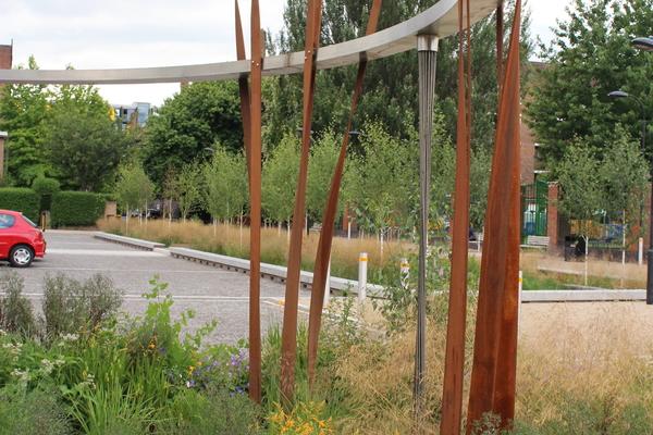 Raingarden with rain sculpture