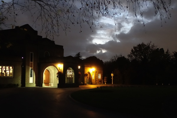 Mortlake Crematorium at Night