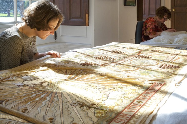 RSN Embroidery Stitcher conserving an Altar Frontal