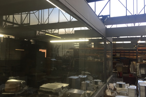 Looking along the polishing shop window towards the extrusion racks.