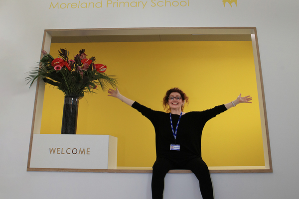 Ann Dwulit Executive head teacher showing her delight with the new school