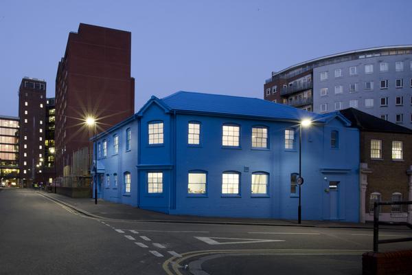 Blue House at dusk