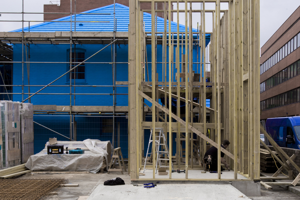 Blue House Yard under construction