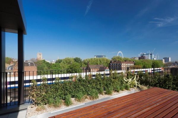View from roof terrace showing London skyline