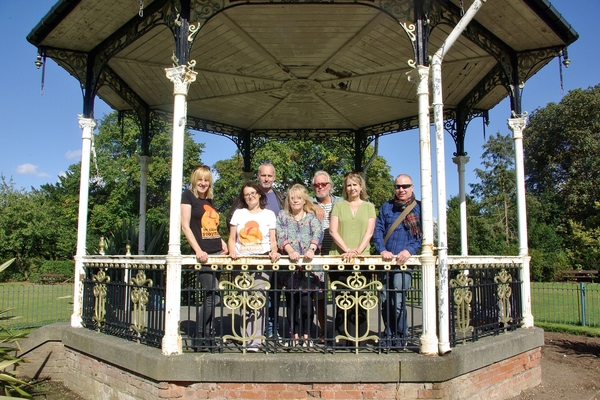 Visiting the bandstand where Bowie performed in 1969.