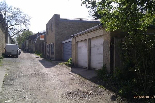 old garage - View from Stories Mews Lane