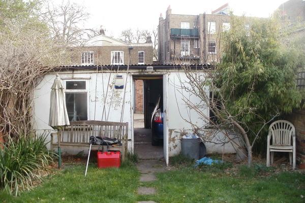 old garage - View from clients garden