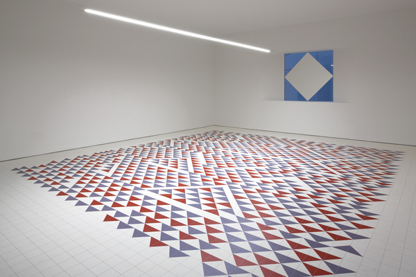 The Collaboration Space features a bespoke vinyl floor based on a work by Bauhaus artist Anni Albers