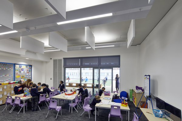 View showing classroom with play space beyond